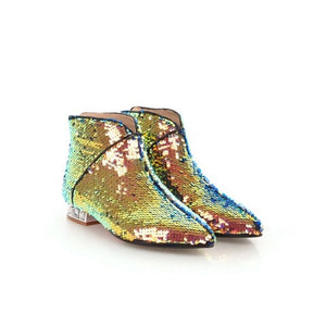 metallic gold sequins ankle boots edgability front view