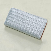 woven silver wallet trendy accessories edgability top view