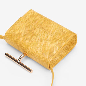 snakeskin envelope yellow clutch bag edgability top view