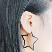 star hoops silver earrings edgability model view