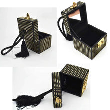 box bag studded bag wristlet edgy fashion classy bag edgability open view