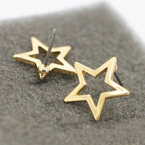 gold star frame earrings studs edgability