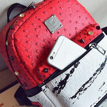 marble red backpack studded bag edgability front view