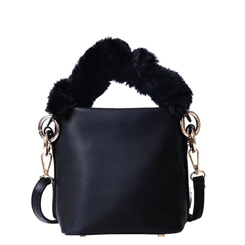 fur bag bucket bag black bag edgability