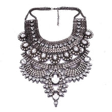silver layered statement necklace with crystal stones top view edgability