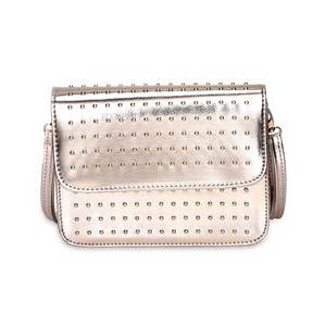 silver studded gold metallic bag edgability front view