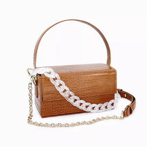 brown croc skin clutch box bag with chain strap edgability front view