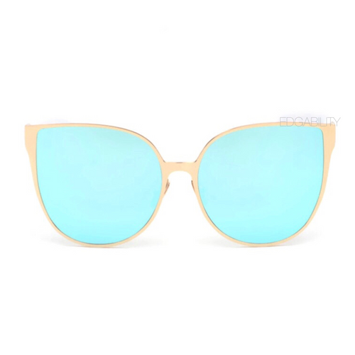 azure blue sunglasses with golden double frames front view edgability