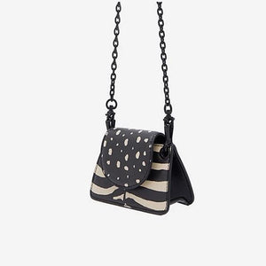 leopard zebra print boho black and white bag edgability angle view