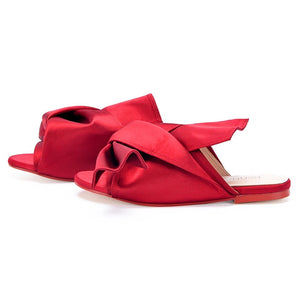 red flats ruffles trendy shoes edgability side view
