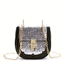 silver sparkle black bag chain strap edgability