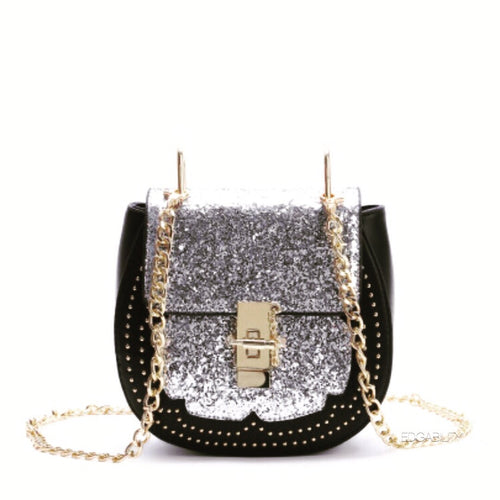 front view of silver sparkle black bag with chain strap edgability