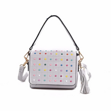 multicoloured studded grey bag with tassles edgability