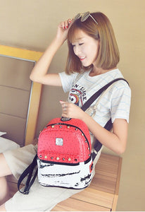 marble red backpack studded bag edgability model view