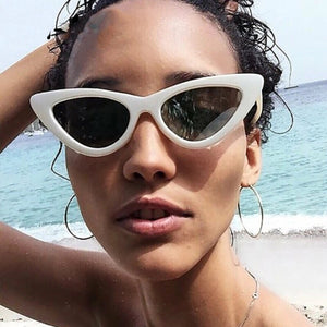 cat eye sunglasses white sunglasses edgability model view
