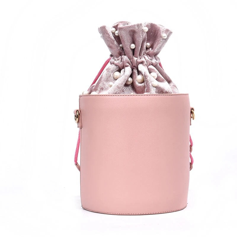 pink studded bag bucket bag drawstring bag edgability