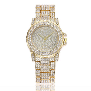 crystals studded diamonte gold watch edgability