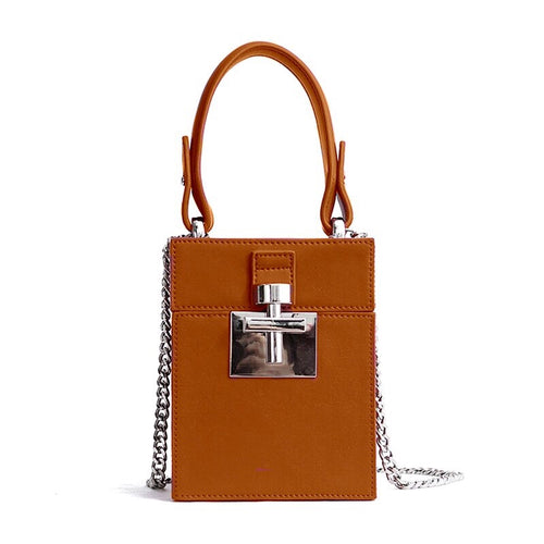 chocolate brown mini box bag with top handle edgability