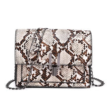 affordable brown beige snakeskin sling bag edgability front view