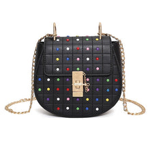 multicoloured studded bag black bag edgability