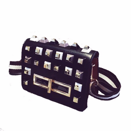 black bag studded bag with multicoloured rivets edgability