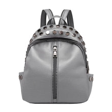silver studded grey mini backpack edgability front view