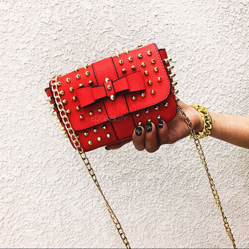studded bag party bag red bag edgability