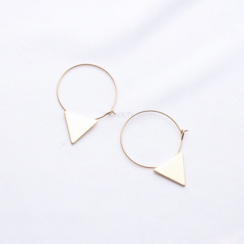 golden hoops with triangle earrings top view edgability