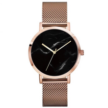 metallic rose gold marble dial watch edgability