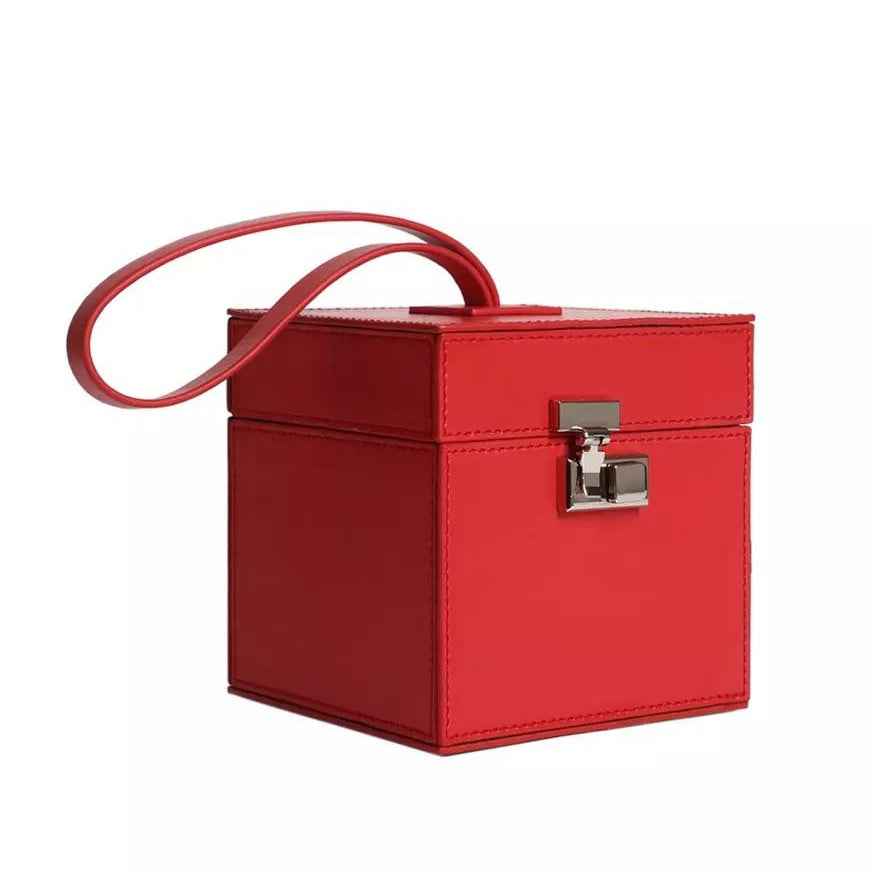 classy red leather box bag edgability