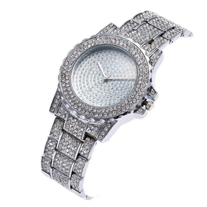 crystal studded diamonte silver watch edgability top view