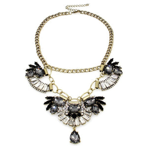 floral necklace crystal statement necklace edgability top view