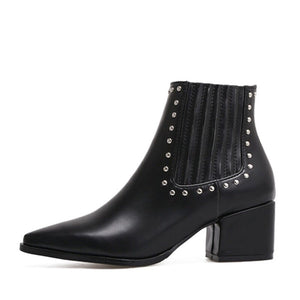 black studded ankle boots with block heel edgability side view