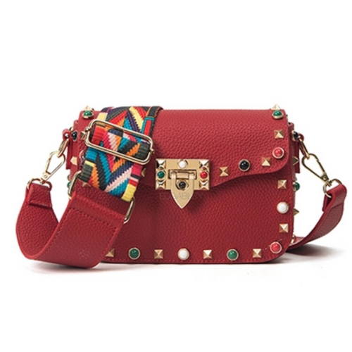 multi coloured studded red bag front view edgability