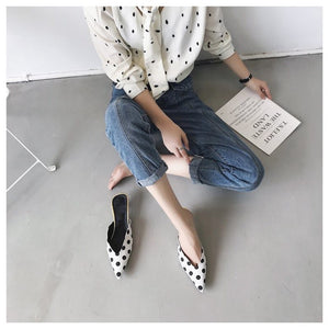 white pumps polkadots shoes with kitten heels edgability model view