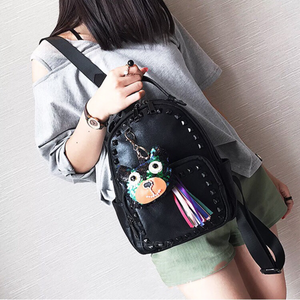 black studded backpack with black rivets model view edgability