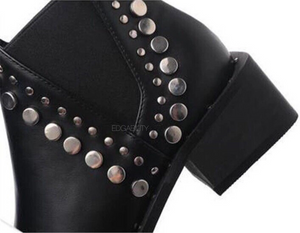 black ankle booties with rivets edgability detail view