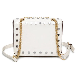 gold silver studded white bag back view edgability