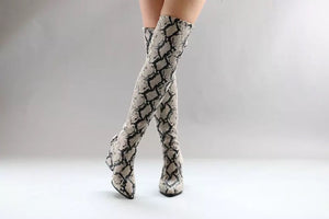trendy knee high snakeskin grey boots with heels edgability model view