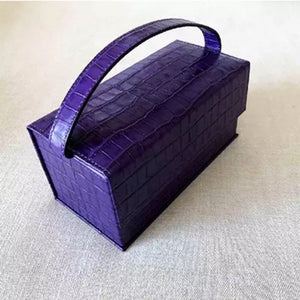 purple croc skin mini micro box bag edgability top view