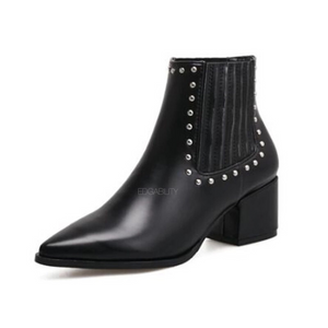 black studded ankle boots with block heel edgability