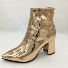gold booties metallic boots ankle boots edgability angle view