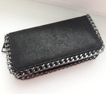 black wallet metallic wallet with chain edgability top view