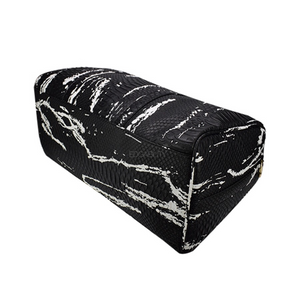 black and white bag marble travel bag edgability below view