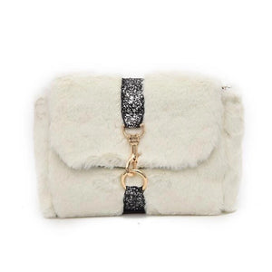 glitter strap white fur bag edgability