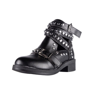 studded black ankle boots with buckles edgability