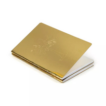 edgy golden notebook with reflective foil angle view edgability