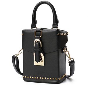 black box bag with buckle egdability angle view