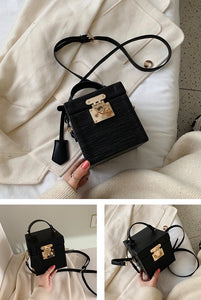 classy leather black box bag edgy fashion edgability angle view