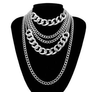 silver chains layered statement necklace edgability front view